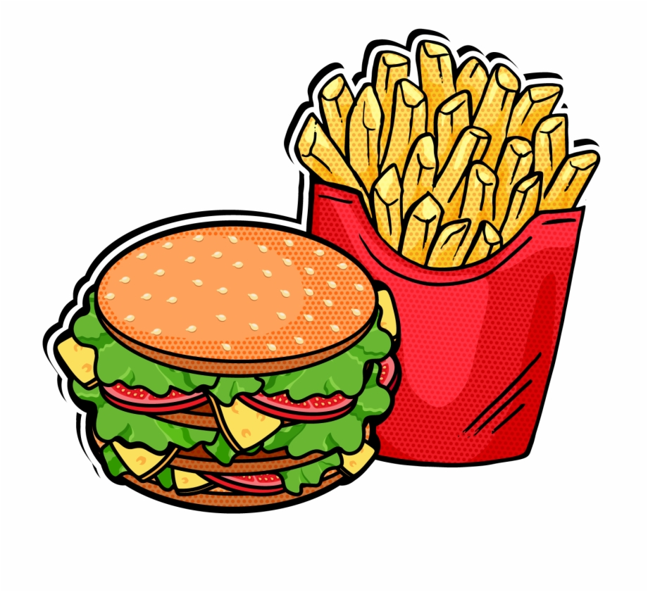Hamburgers and fries clipart image black and white library Pop Clipart Fast Food - Hamburger And Fries Clipart Free PNG Images ... image black and white library
