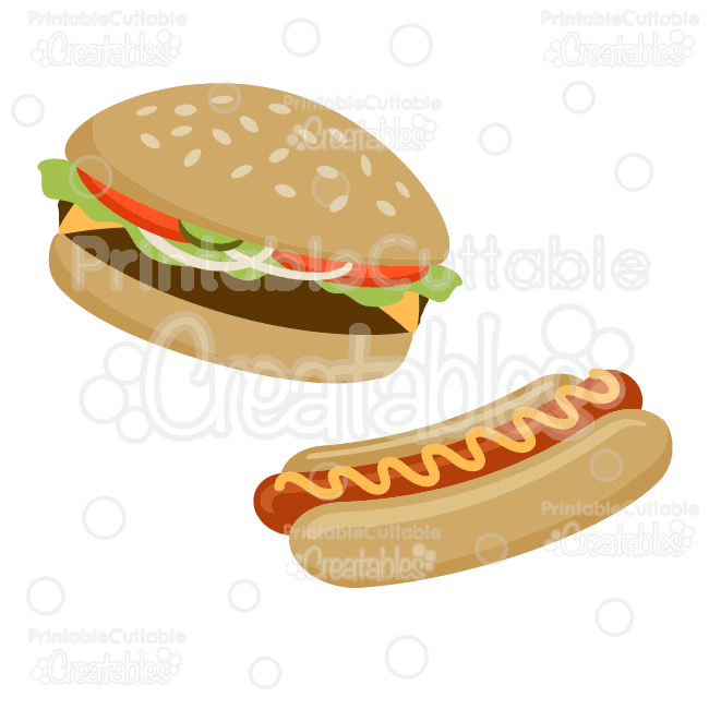 Hot dogs and hamburgers clipart clip library library Hamburger & Hot Dog SVG Cut File & Clipart clip library library