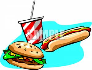 Hamburgers and hot dogs clipart royalty free stock A Hamburger, a Hot Dog, and a Soda - Royalty Free Clipart Picture royalty free stock
