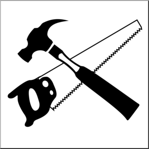 Hammer and saw clipart svg transparent library Clip Art: Tools: Hammer and Saw B&W I abcteach.com | abcteach svg transparent library