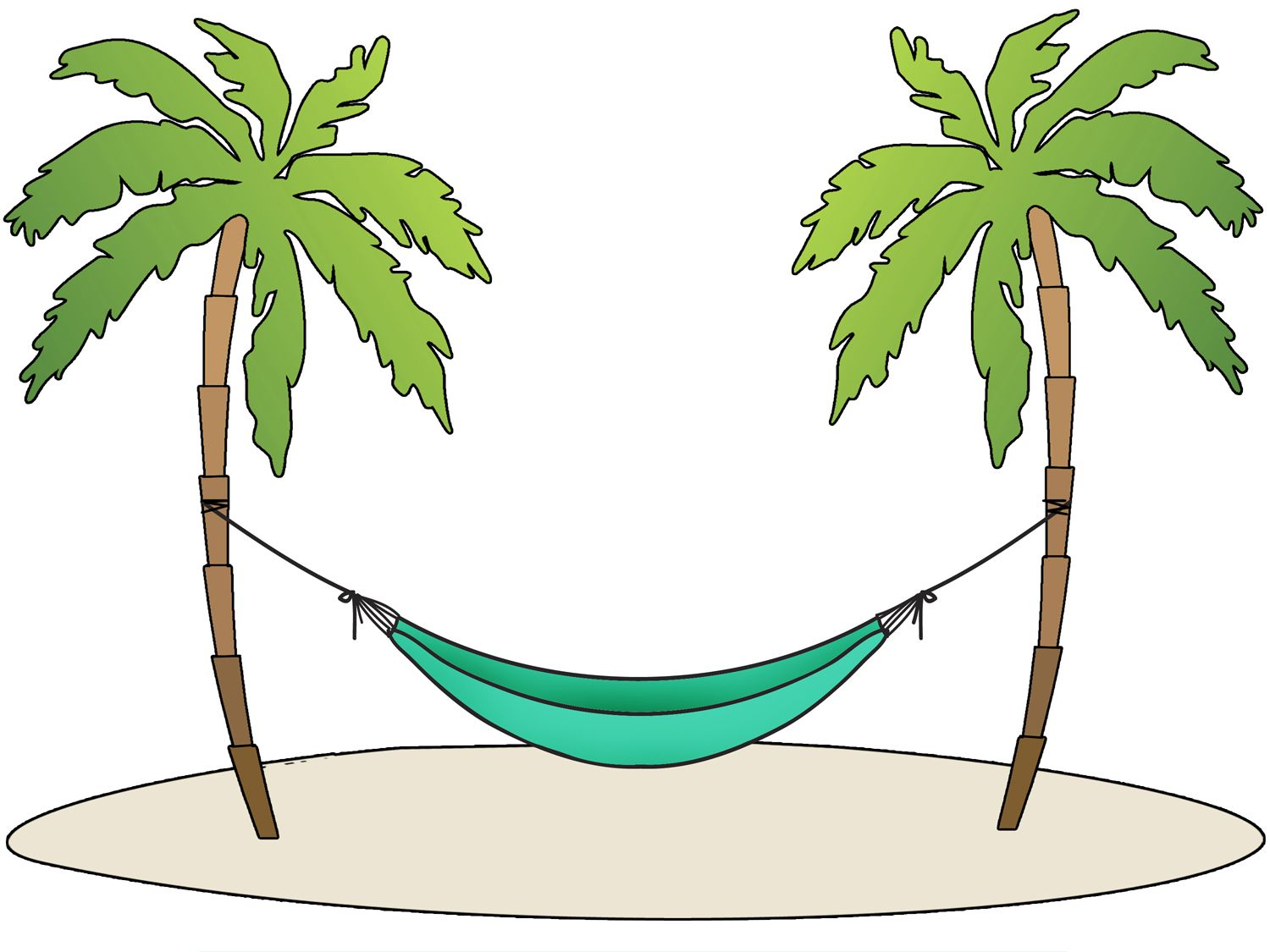 Hammock and trees clipart banner freeuse library Pin by Rachel Craig on Retirement party | Beach clipart, Beach ... banner freeuse library