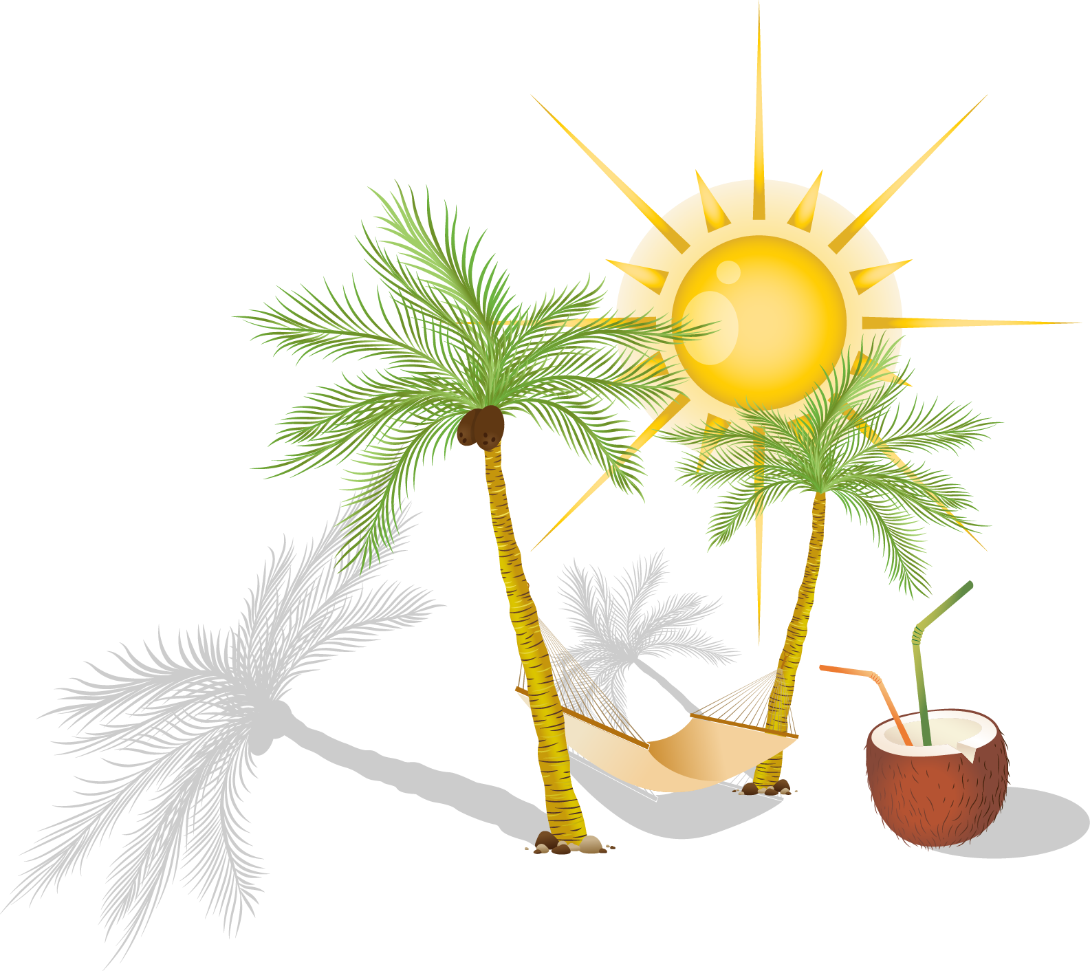Hammock and trees clipart vector freeuse download HD Hammock Arecaceae Clip Art - Hammock Palm Trees Clipart Png ... vector freeuse download