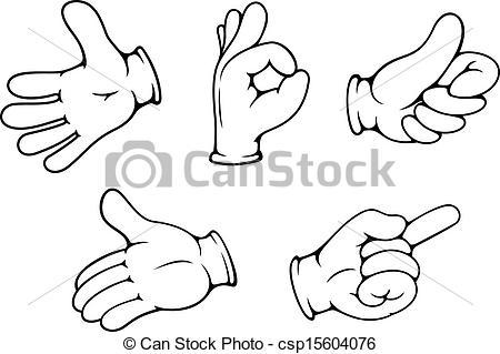Hand cartoon clipart png transparent Vectors Illustration of People hand gestures set in cartoon comics ... png transparent