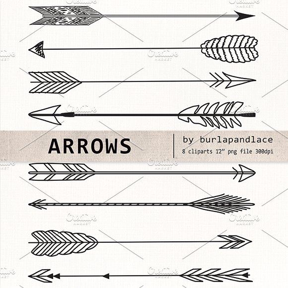 Hand drawn arrow clipart black and white download Hand Drawn clipart arrows ~ Illustrations on Creative Market black and white download
