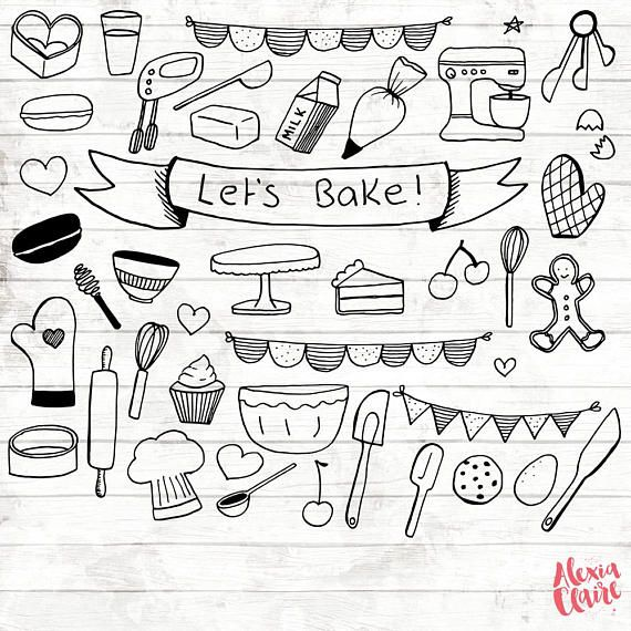 Hand drawn book clipart clip art library stock Baking Clipart - 17 Hand Drawn Baking - Baking Logo Art - Baking ... clip art library stock