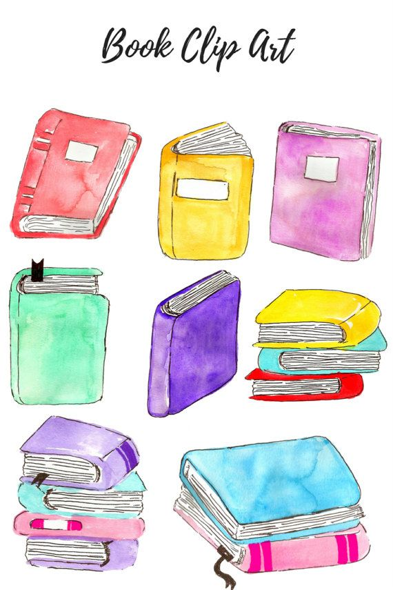 Watercolor clipart school png free library Watercolor clip art - Book Clip Art - School Clip Art- kid clip art ... png free library