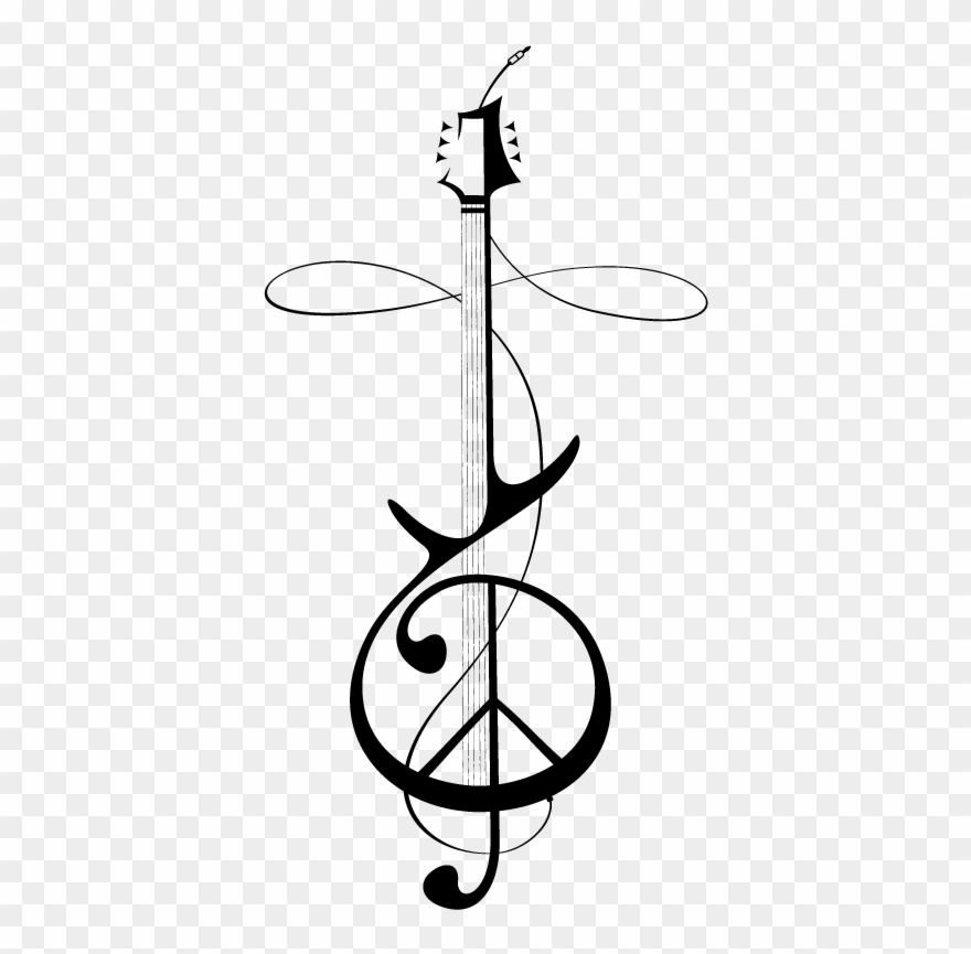 Hand drawn cleff black and white clipart png svg royalty free stock Treble Clef Peace Sign Tattoo - Peace Sign Treble Clef Clipart ... svg royalty free stock