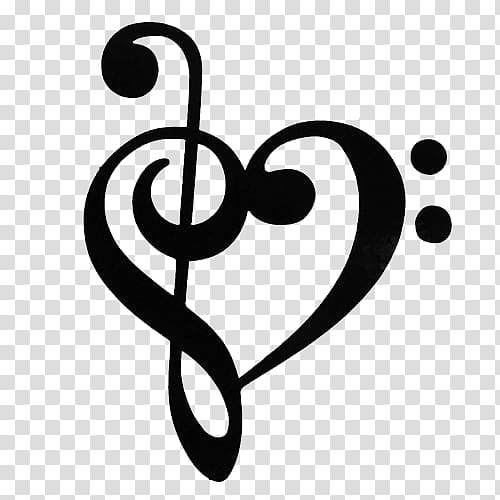 Hand drawn cleff black and white clipart png graphic library Heart music note illustration, Musical note Clef Treble , Clef Note ... graphic library