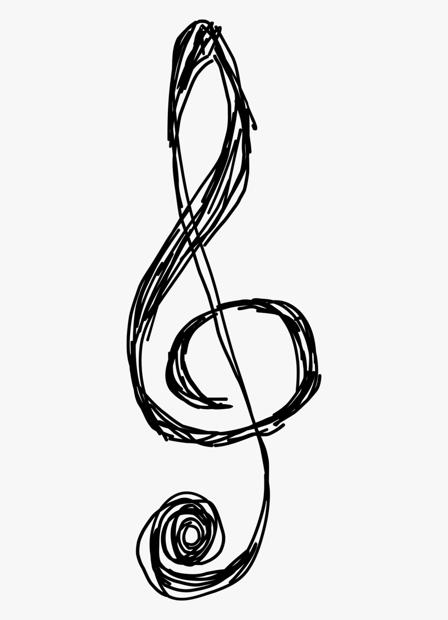 Hand drawn cleff black and white clipart png picture library stock Music Notes Clipart Drawn - Hand Drawn Treble Clef #3006 - Free ... picture library stock