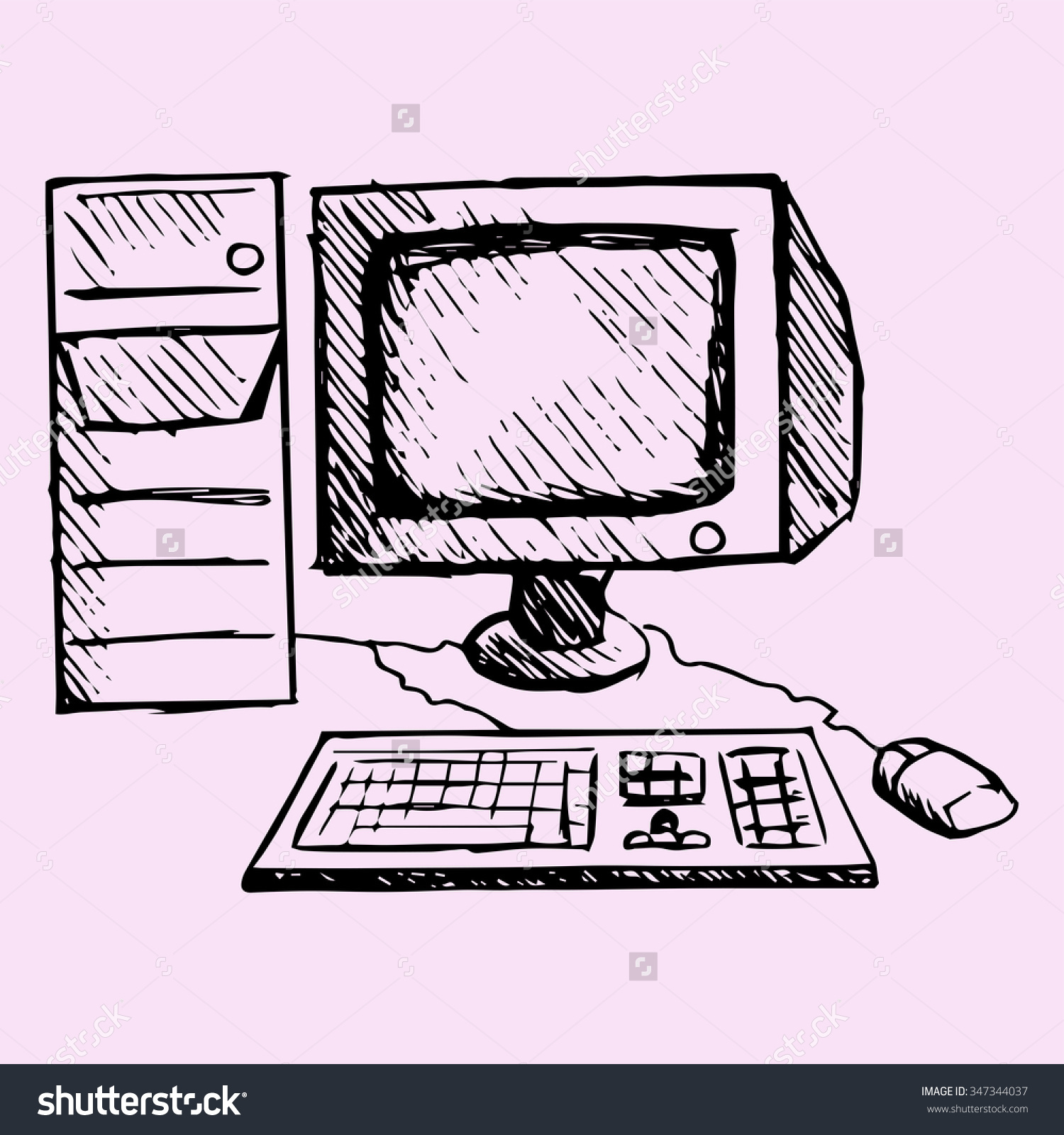 Hand drawn computer keyboard clipart jpg free library Retro Desktop Computer Monitor Keyboard Mouse Stock Illustration ... jpg free library