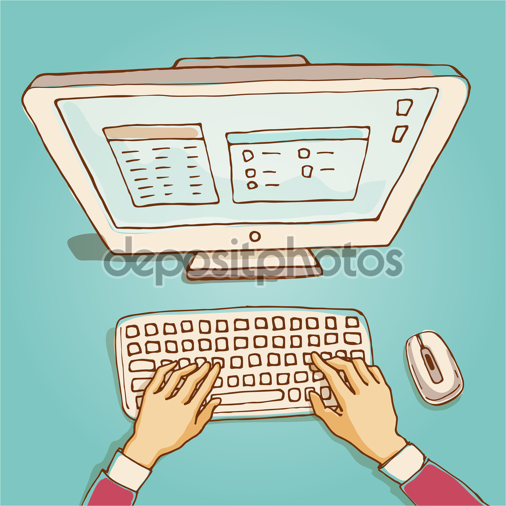 Hand drawn computer keyboard clipart clip art royalty free library Hands on computer keyboard — Stock Vector © schiva #89627210 clip art royalty free library