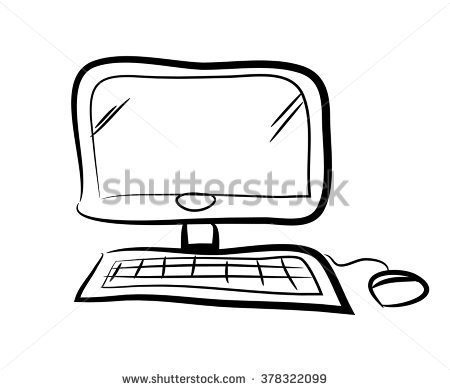 Hand drawn computer keyboard clipart picture transparent library Retro Desktop Computer Monitor Keyboard Mouse Stock Illustration ... picture transparent library