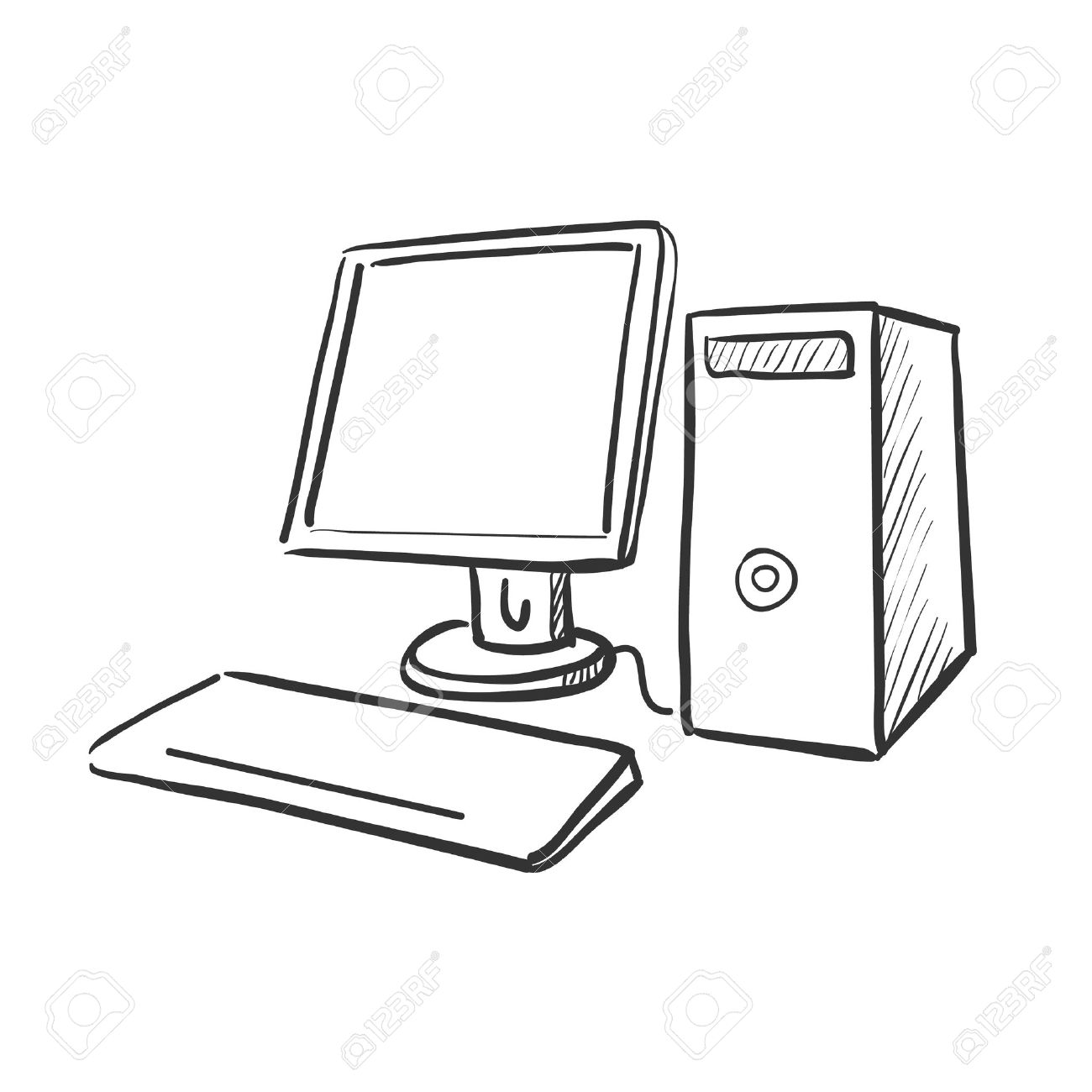 Hand drawn computer keyboard clipart svg freeuse Hand Draw Doodle Computer, Excellent Vector Illustration Royalty ... svg freeuse