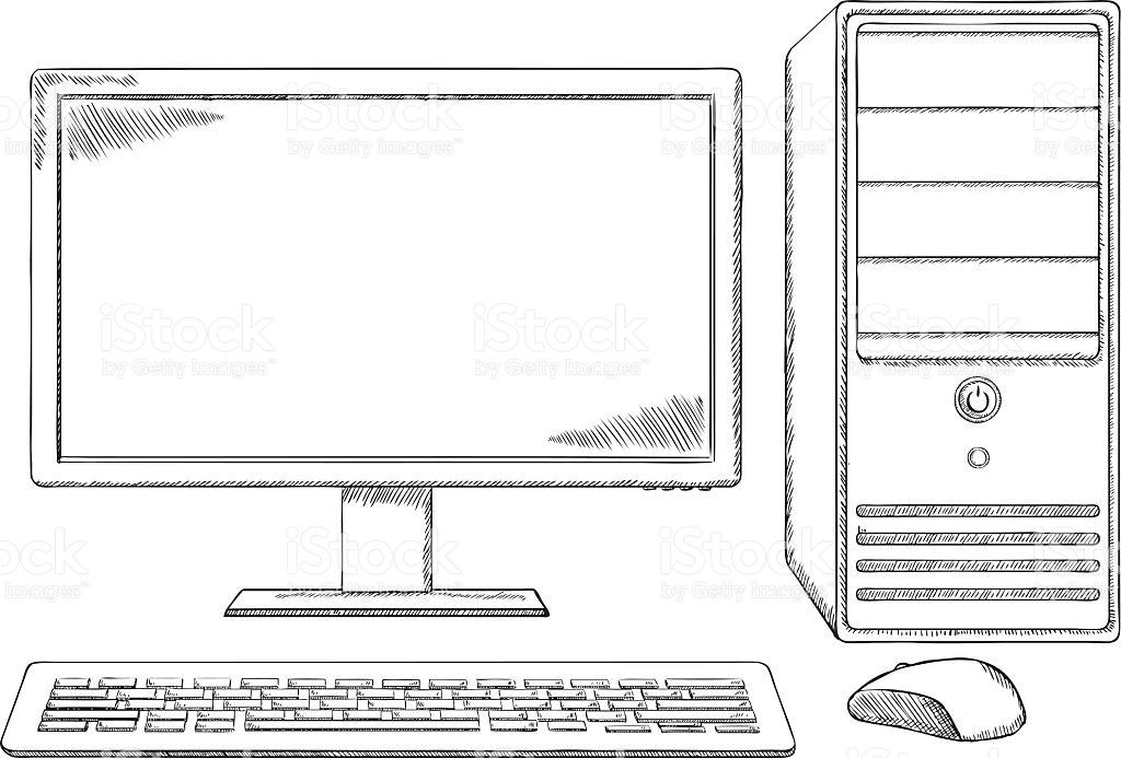 Hand drawn computer keyboard clipart vector transparent stock Sketch Style Desktop Computer Monitor Keyboard And Mouse stock ... vector transparent stock