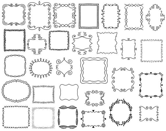 Hand drawn doodles clipart svg free stock 30 Doodle Frames Vector Pack, Hand Drawn Doodle Clipart ,Hand Drawn ... svg free stock