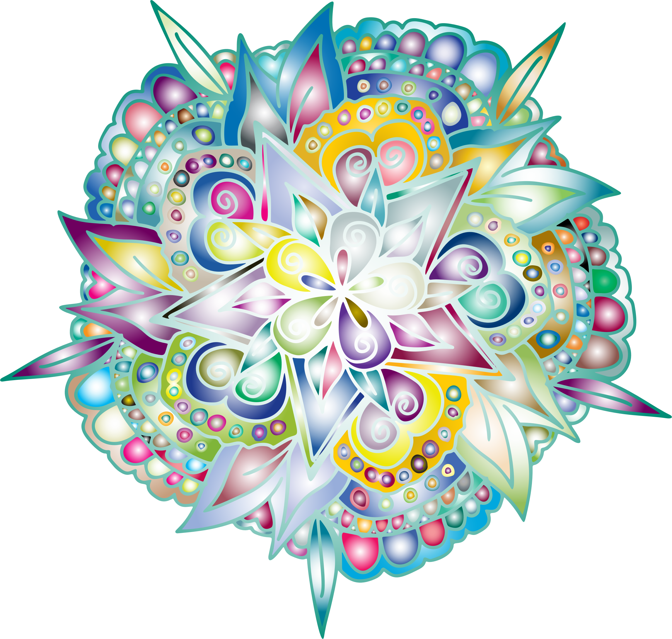 Hand drawn flower clipart png royalty free stock Clipart - Hand Drawn Floral Line Art Prismatic png royalty free stock