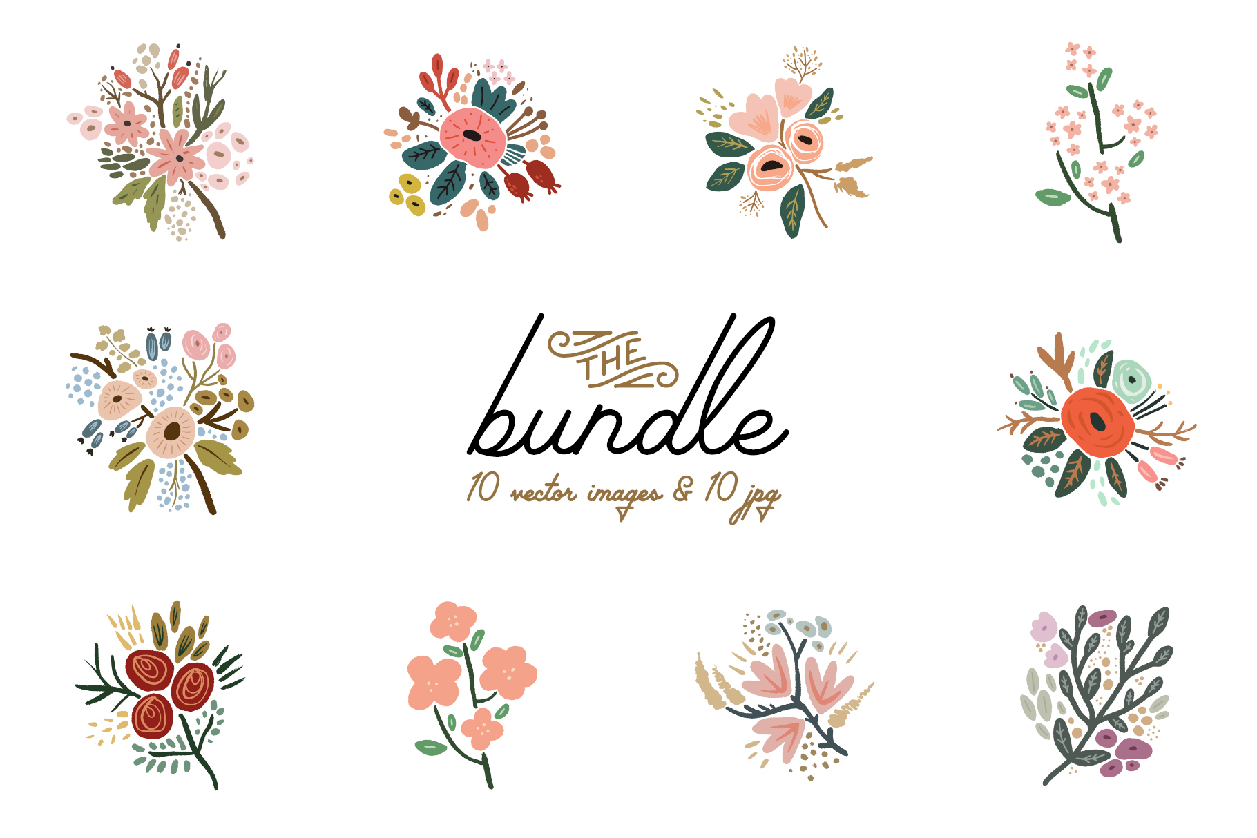 Hand drawn flowers clipart clip free stock Hand drawn flowers, wedding bouquets, vector clip art clip free stock