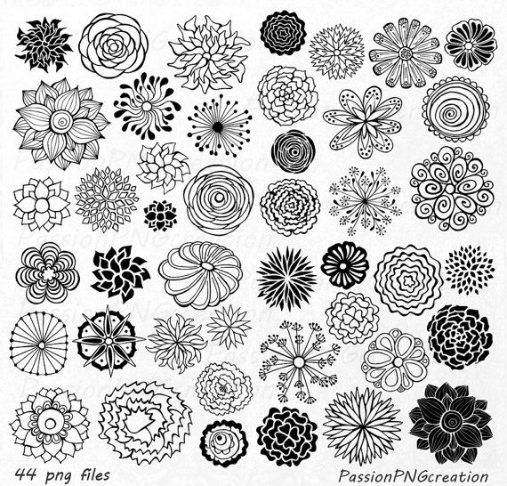Hand drawn flowers clipart freeuse stock BIG SET! 44 Hand Drawn Flowers clipart, flower element, flower ... freeuse stock