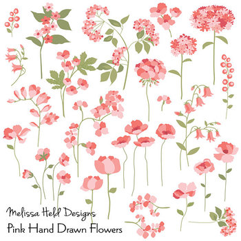 Hand drawn flowers clipart png library library Hand Drawn Pink Flowers Clipart png library library