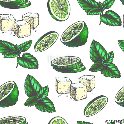 Hand drawn lemon peppermint clipart free stock Vector vintage seamless pattern with ingredients for cocktail. Hand ... free stock