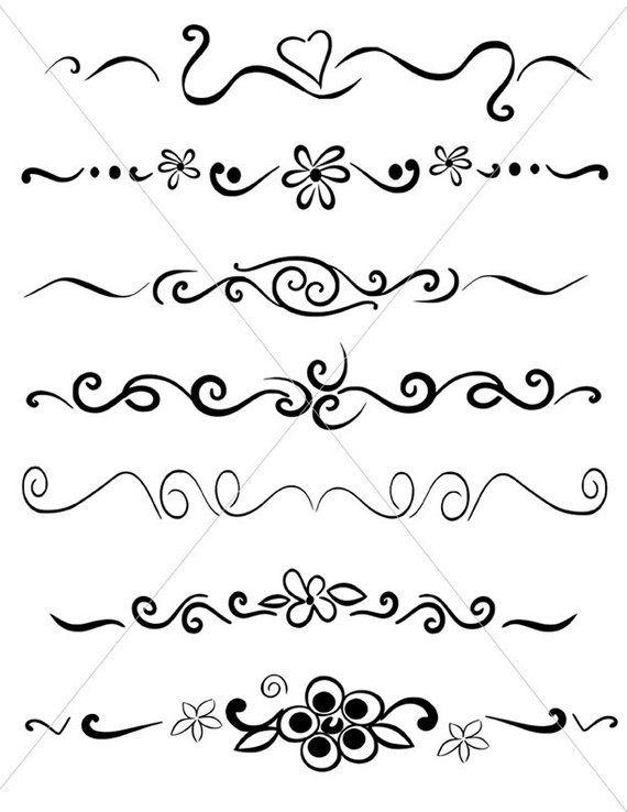 Hand drawn underline clipart vector royalty free SVG Flourish Divider Lines, Underlines, PDF JPG Files, Fancy Swirls ... vector royalty free