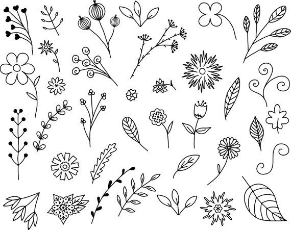 Hand drawn doodles clipart svg freeuse download 35 Floral Doodles Vector Pack, Hand Drawn Doodle Clipart ,Leaves and ... svg freeuse download