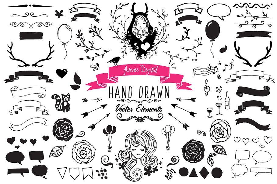 Hand drawn vector clipart jpg stock 104 Hand Drawn Vector Elements + PNG jpg stock