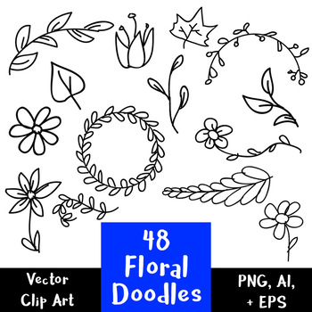 Hand drawn vector clipart free stock 48 Floral Doodles | Hand Drawn Vector Clipart | Wreath, Leaves | PNG, AI,  EPS free stock
