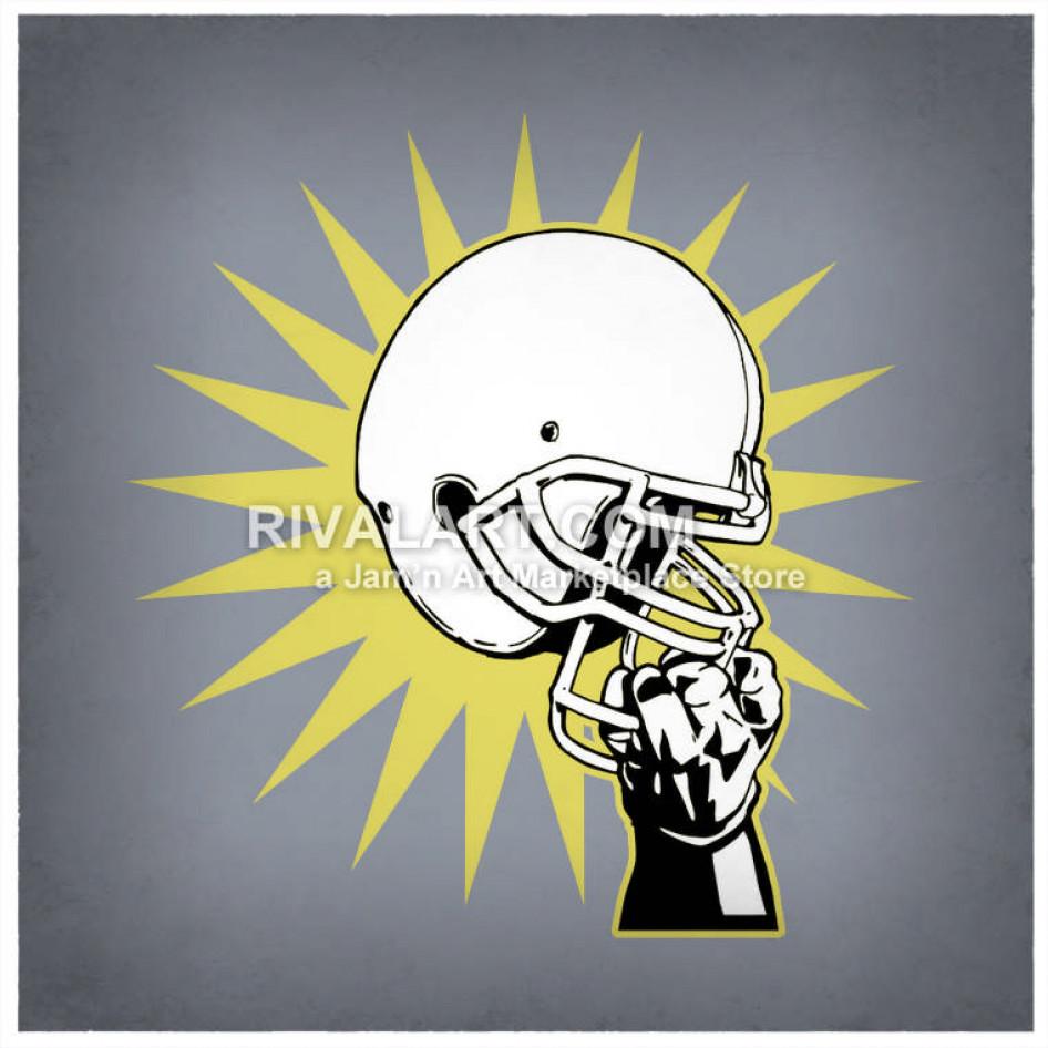Hand holding a football helmet clipart banner library library Football Hand Holding Helmet Graphic banner library library