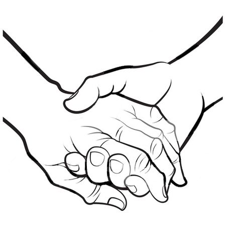 Hands holding heart clipart black and white