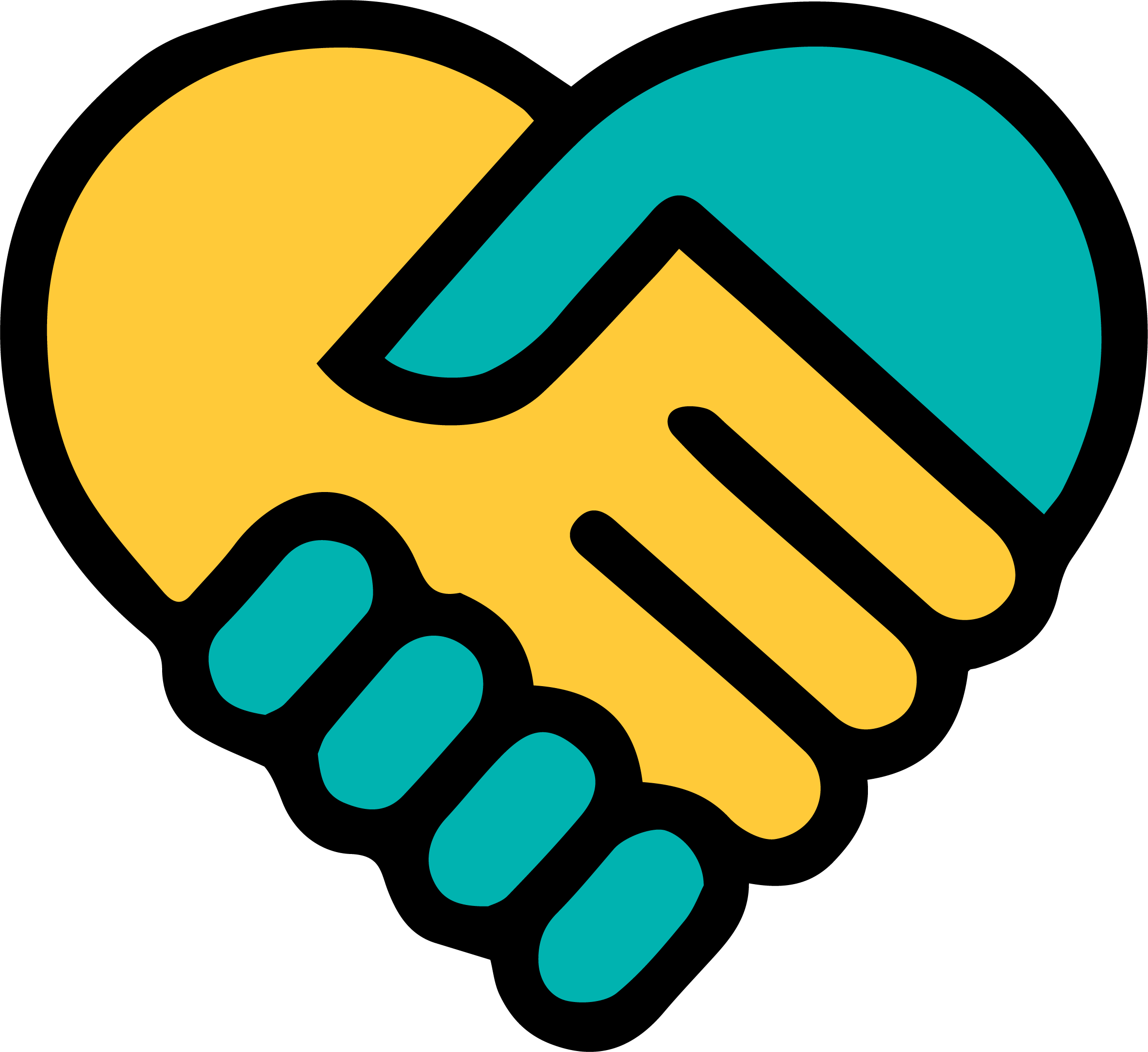Hands holding heart clipart picture transparent download Yellow Blue holding hands heart - Fred Finch Youth Center | Fred ... picture transparent download