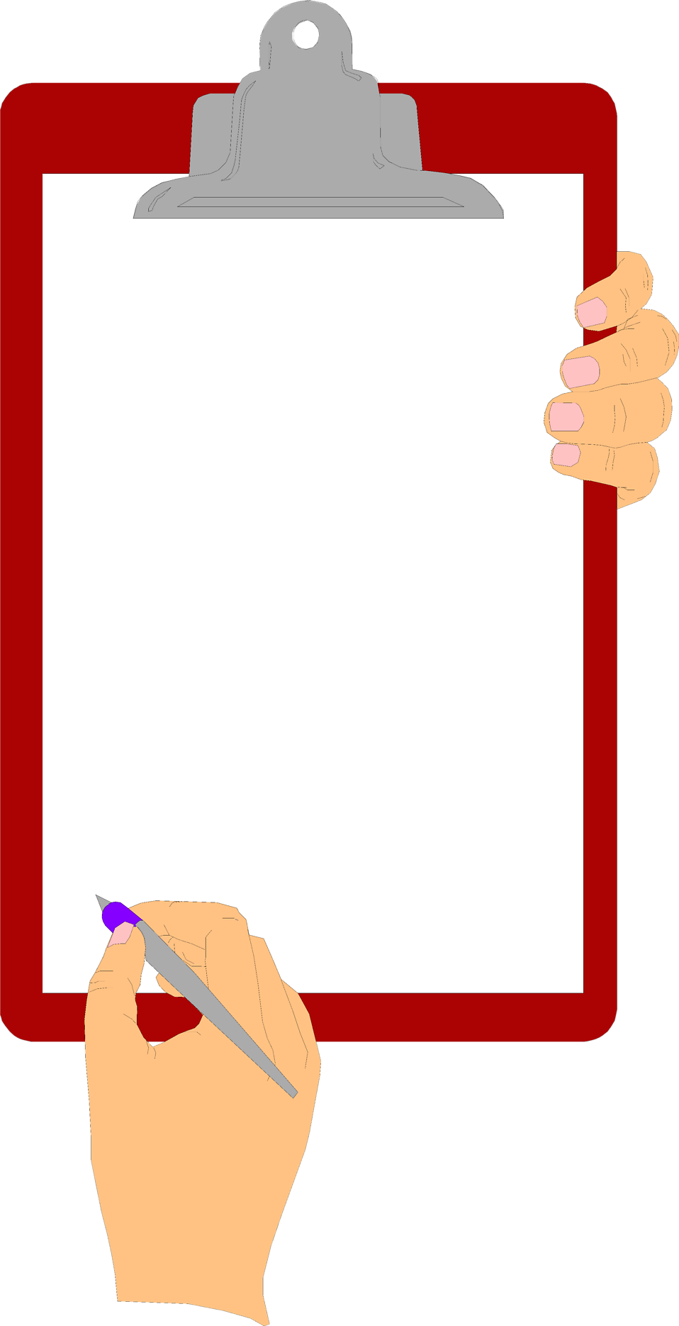 Holding book clipart svg royalty free library Free Stock Photo: Illustration of hands holding a blank clipboard ... svg royalty free library
