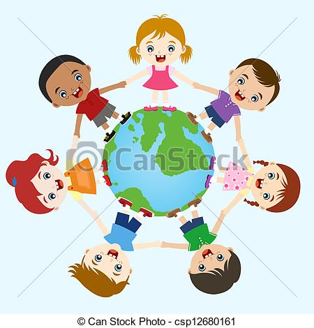 Hand i hand clipart clip art royalty free stock Clip Art Vector of multicultural children hand in hand on earth ... clip art royalty free stock