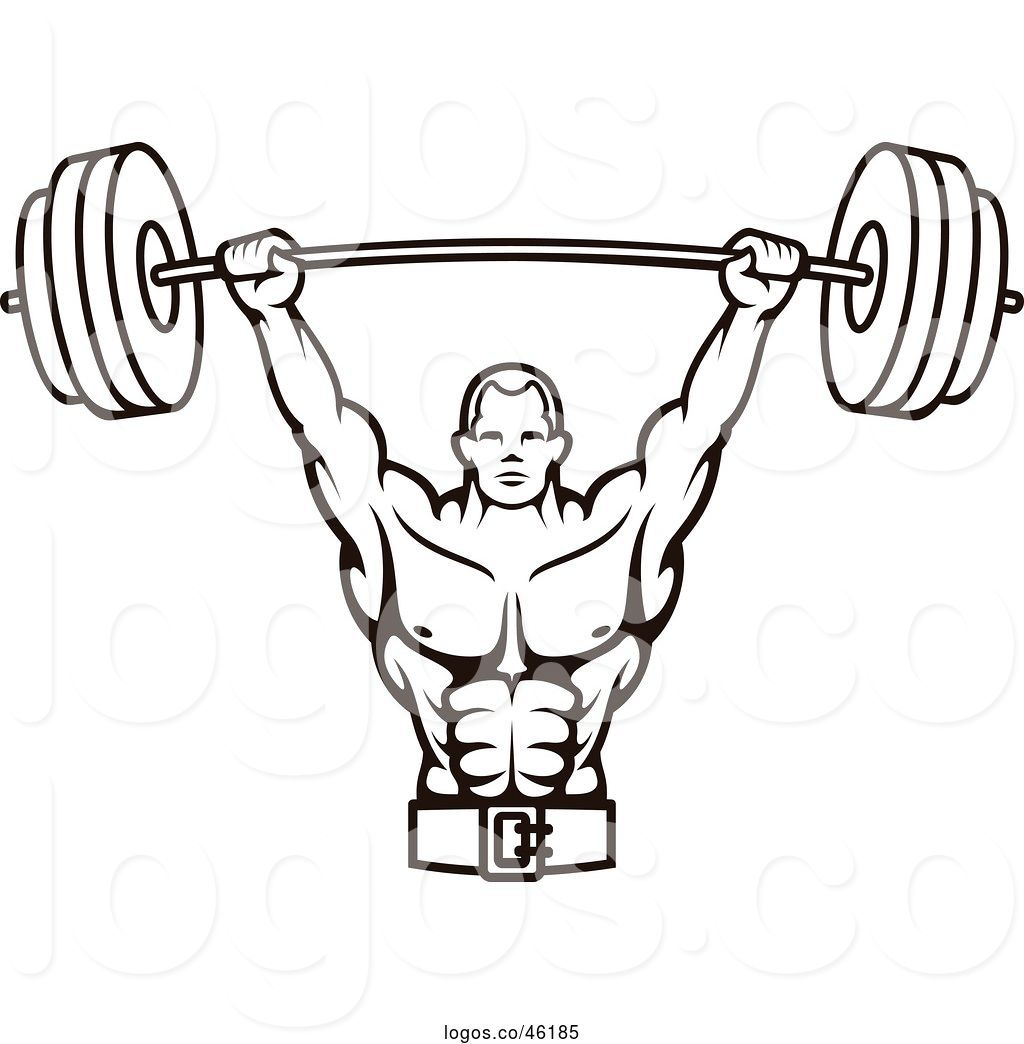 Hand lifting weights clipart black and white clip art freeuse download Logo of Black and White Male Bodybuilder Lifting a Barbell Weight by ... clip art freeuse download