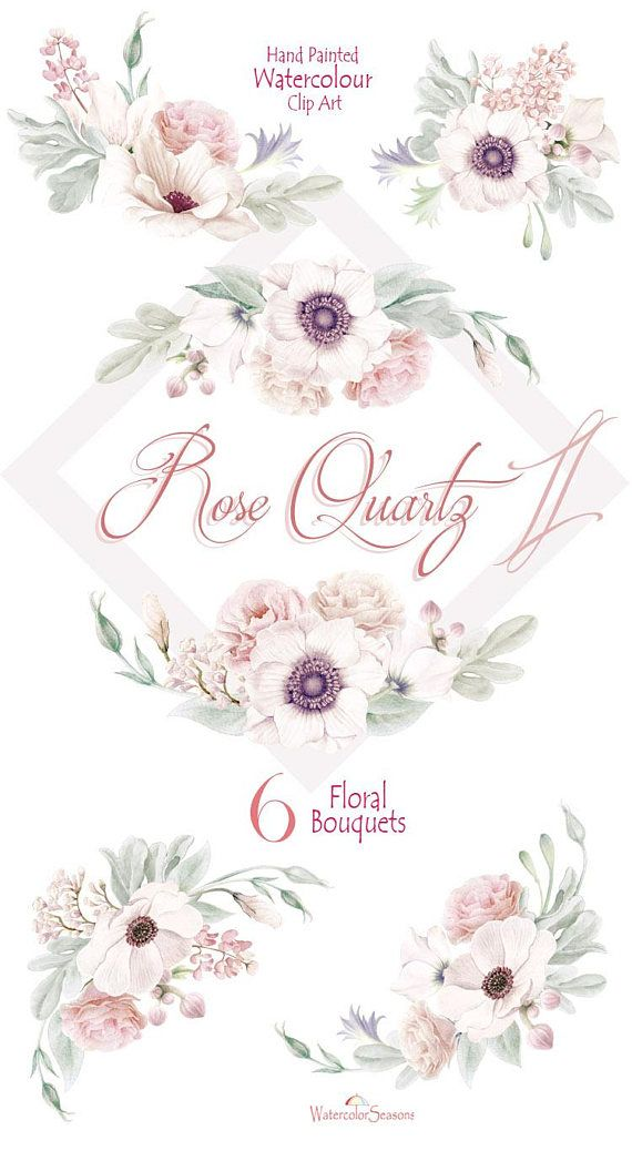 Hand painted watercolor clipart graphic transparent download High quality Hand painted Watercolor Clipart Collection Rose Quartz ... graphic transparent download