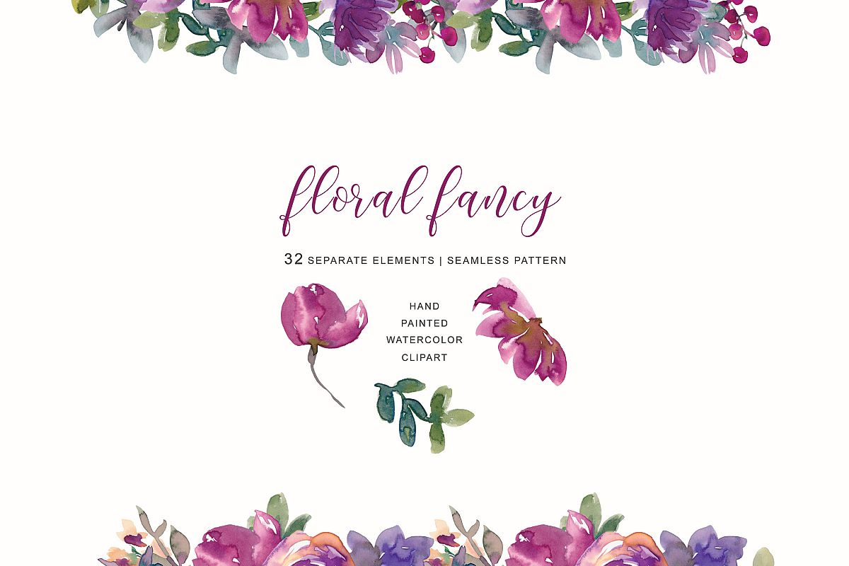 Hand painted watercolor clipart png free Hand Painted Watercolor Aubergine Soft Flowers Clipart png free