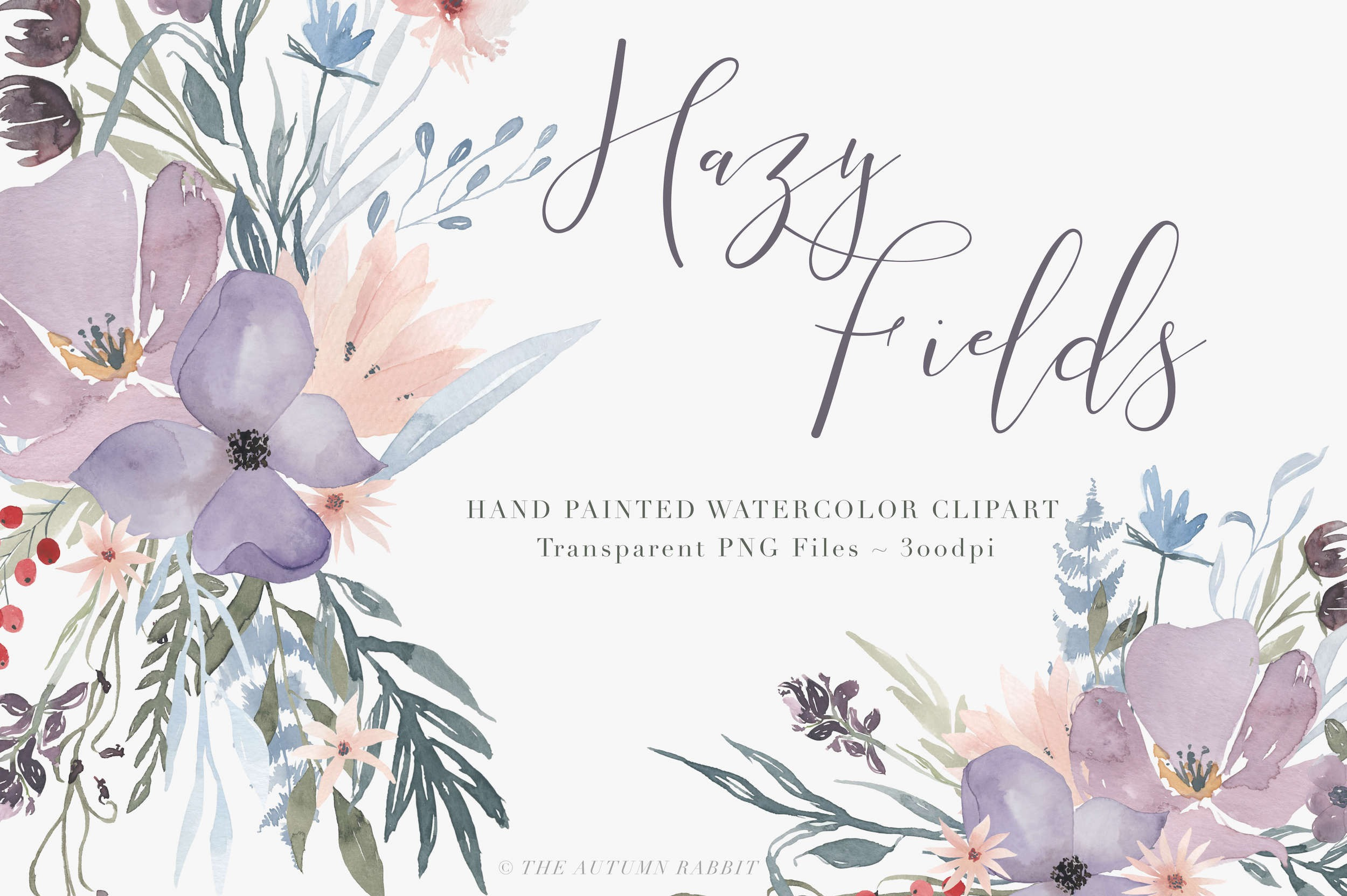 Hand painted watercolor clipart black and white download Hazy Fields – Watercolor Clipart Set black and white download