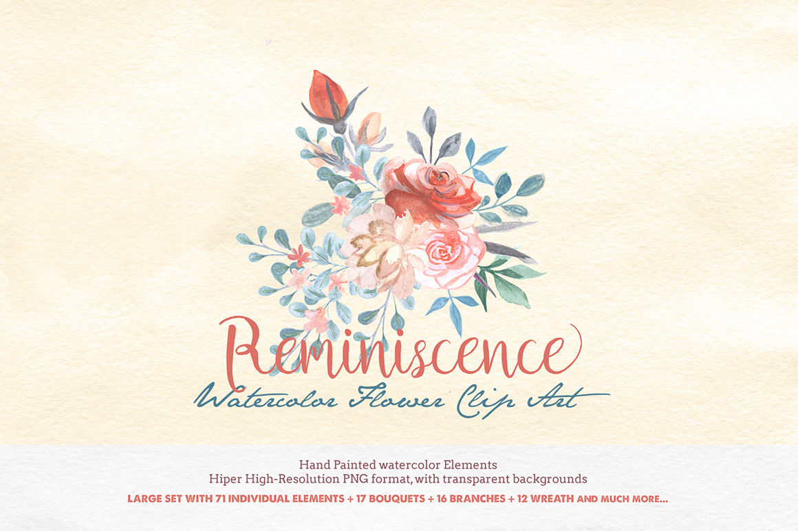 Hand painted watercolor clipart vector Handpainted Watercolor Clipart Reminiscence vector