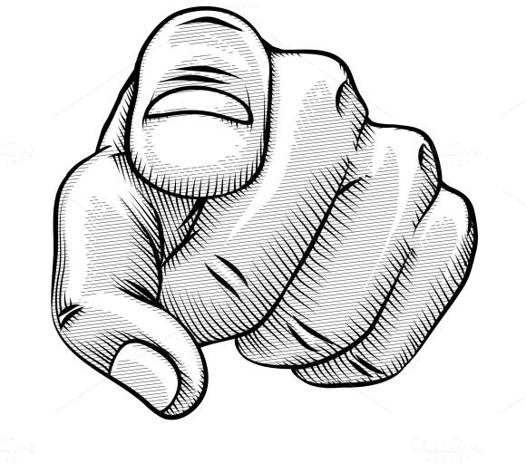 Hand pointing at you clipart clip black and white library Check out Retro pointing finger by Microvector on Creative Market ... clip black and white library