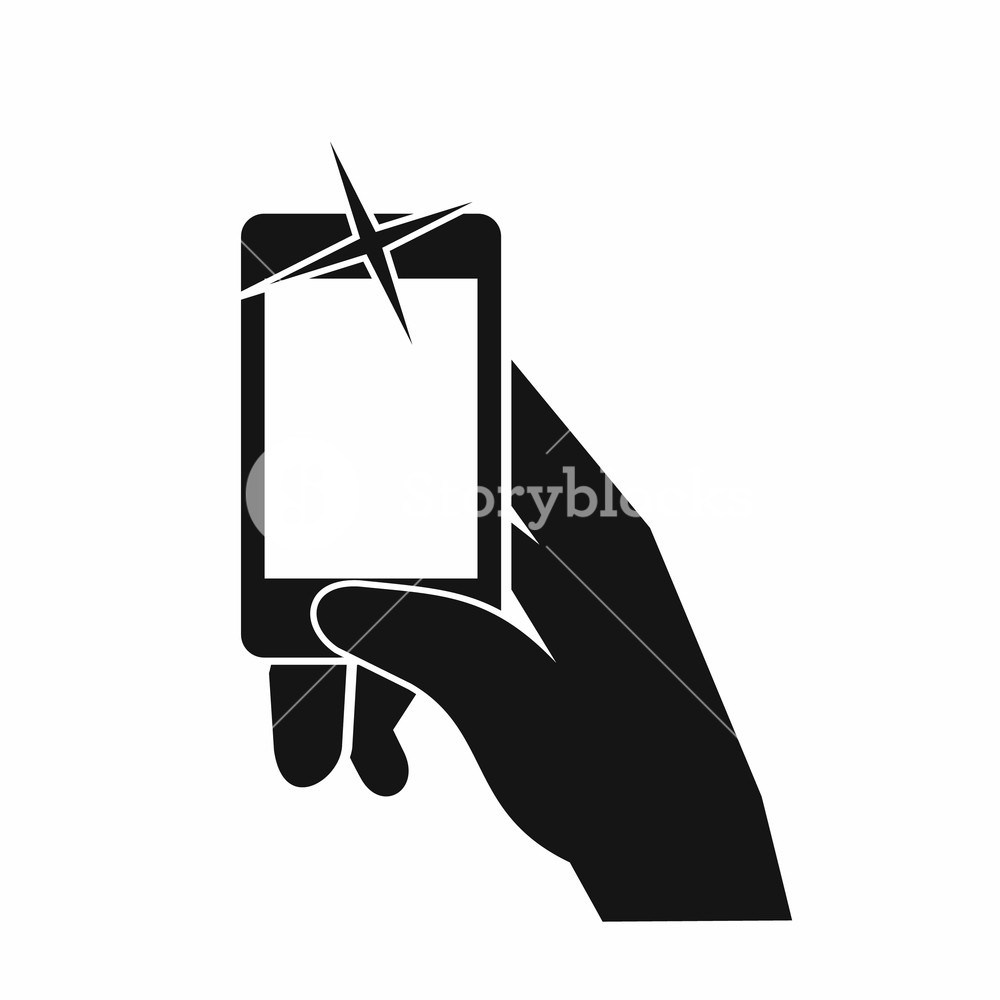 Hand taking a cellphone pic clipart graphic library Hand taking pictures on cell phone icon in simple style isolated on ... graphic library