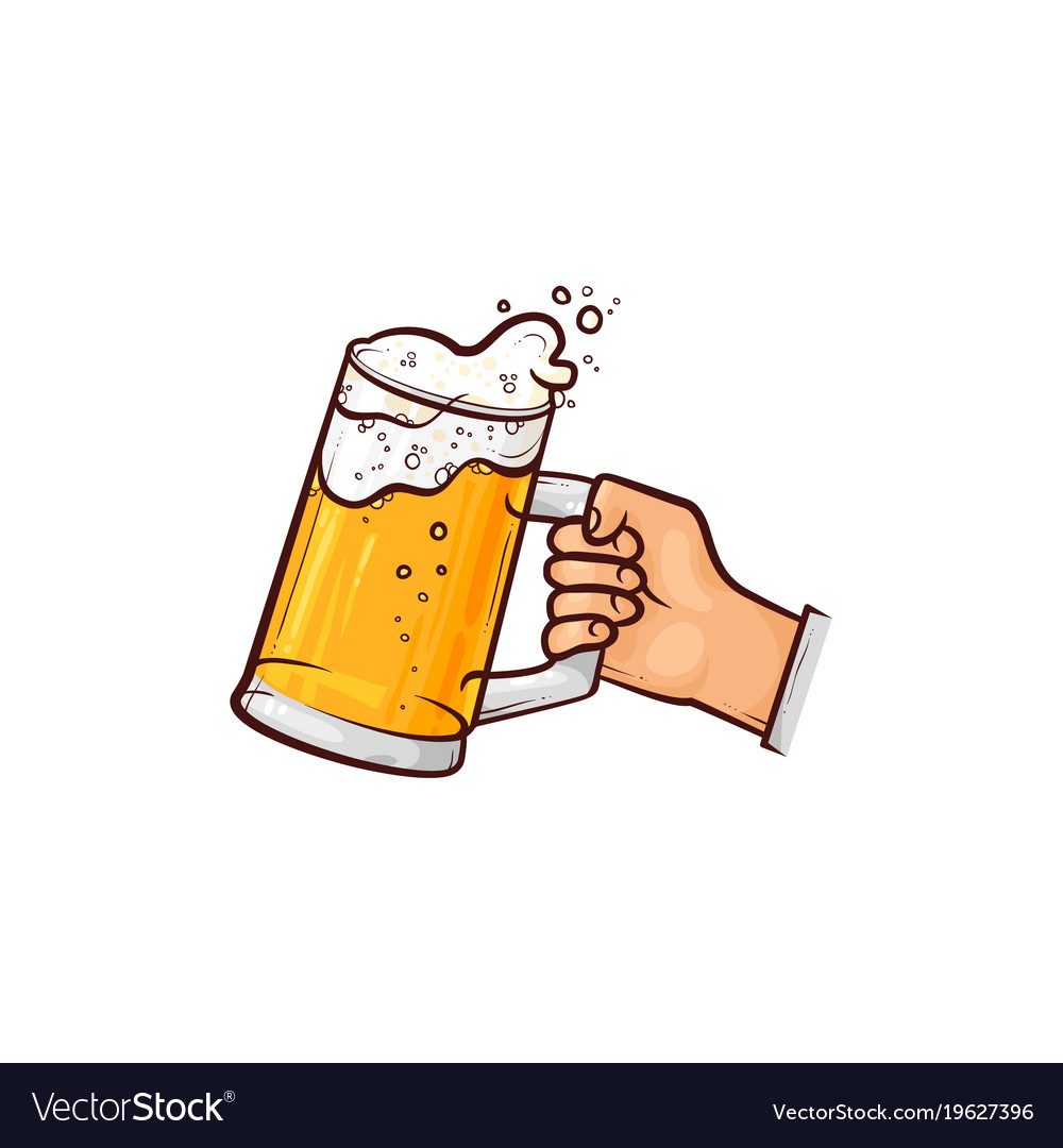 Hand up beer pint clipart clip art library stock Hand-drawn hand holding mug of beer ale cider clip art library stock