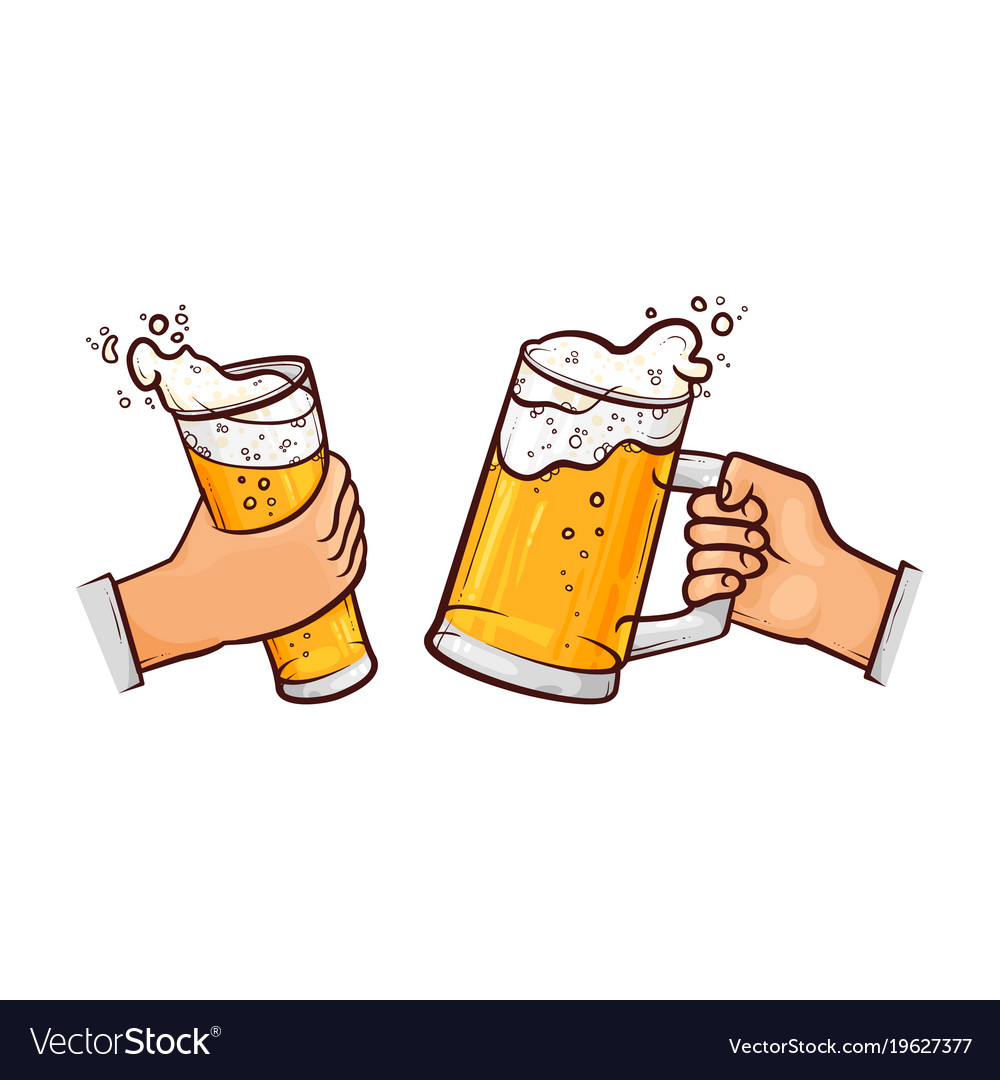 Hand up beer pint clipart clipart transparent Cartoon hands with beer glasses toasting clipart transparent