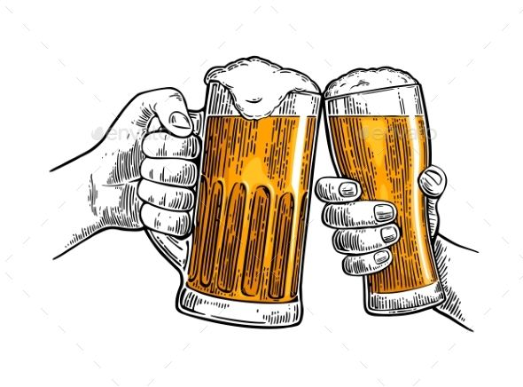 Hand up beer pint clipart clipart library stock Two hands holding and clinking with two beer glasses mug. Vintage ... clipart library stock