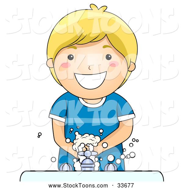 Hand washing cartoon clipart banner free library Stock Cartoon of a Happy Blond Boy Washing His Hands at a Sink by ... banner free library