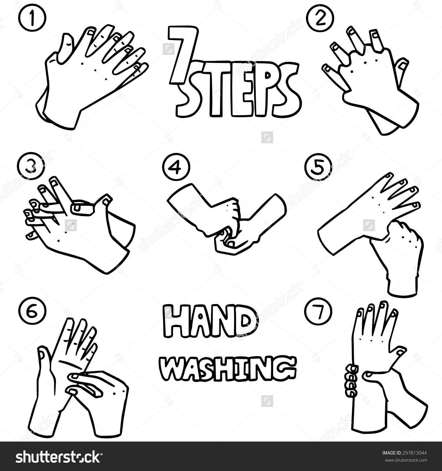 Hand washing clipart black and white clipart freeuse library Vector Set Hand Washing Steps Stock Vector 297813044 - Shutterstock clipart freeuse library