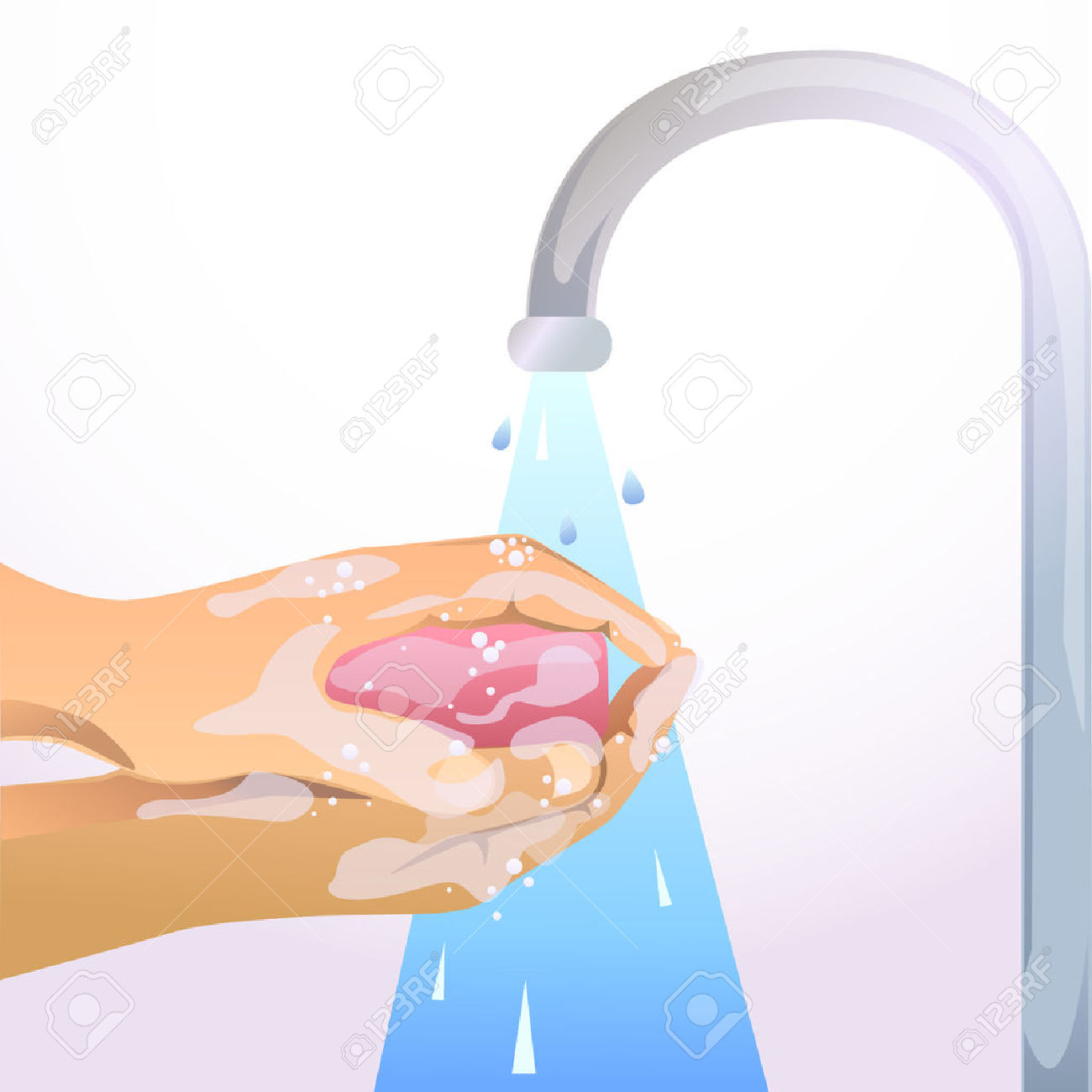 Hand washing soap and water clipart banner library stock Hand Washing With Soap And Water Royalty Free Cliparts, Vectors ... banner library stock