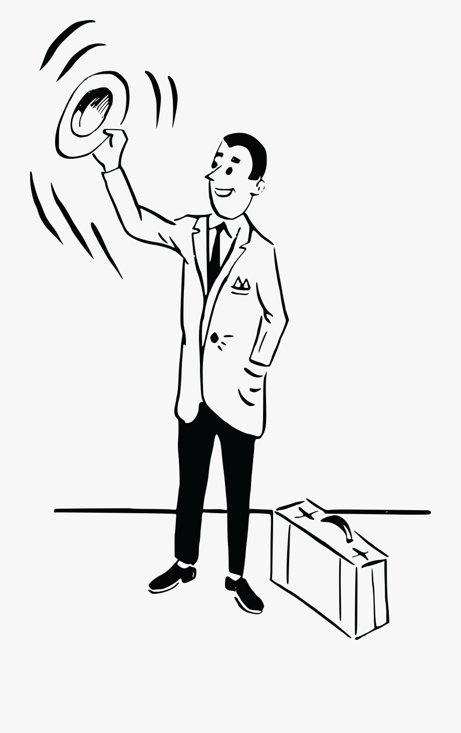 People waving goodbye clipart image stock Free Clipart Of A Black And White Retro Man Waving - Man Waving ... image stock