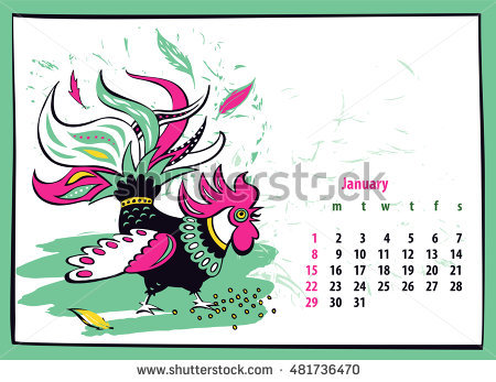 Hands 1 2 3 clipart silhouette colorful freeuse Calendar 2017 Chinese New Year Rooster Stock Vector 456013171 ... freeuse