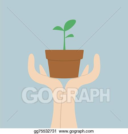 Hands holding plant clipart clip art stock Vector Art - Hands holding small plant, growth c. EPS clipart ... clip art stock