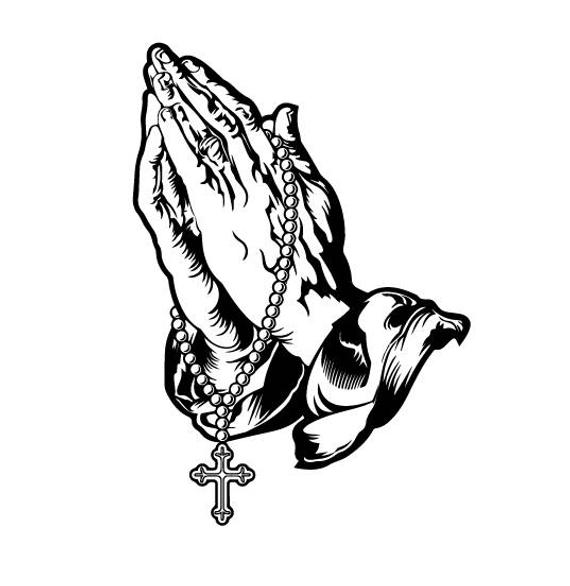 Hands in prayer with cross clipart png picture Praying Hands With Rosary Sketch at PaintingValley.com | Explore ... picture